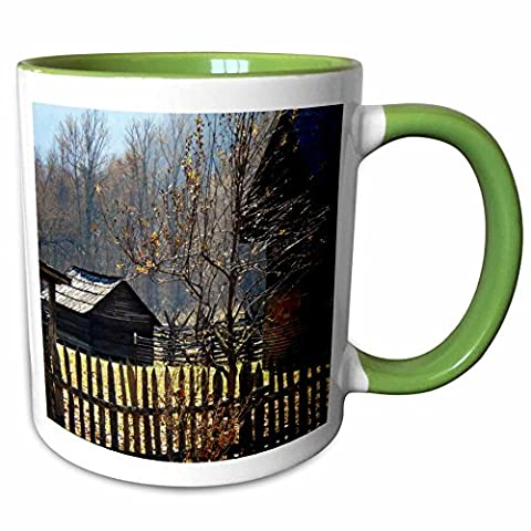 3dRose ET Photography Nature Scenes - A homestead at Cades Coves in the Smokey Mountains - 11oz Two-Tone Green Mug - Cades Cove Smokey Mountains