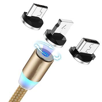 Taurusb Cargador magnético, 3 en 1 Nylon Trenzado USB Carga ...