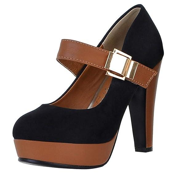 Botines De Altos Tacón Mujer,ZARLLE Mujer Elegante Zapatos con Tacon Alto para Mujer Plataforma del Pie Cerrado Tacón Zapatillas Talla Grande: Amazon.es: ...