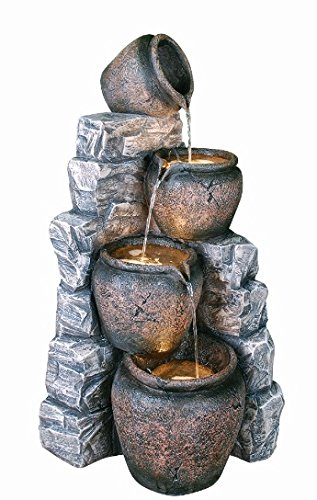 Four Cascading Pots on bluee Slate Lit Water Feature 90.5cm   36.2''