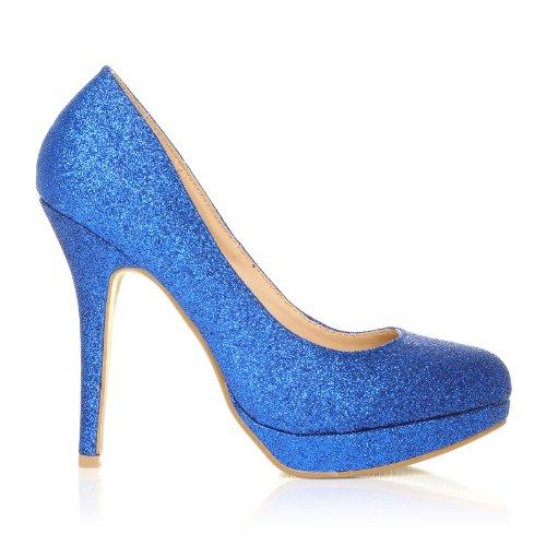 Col Glitter Effetto Blu Alto Tacco Eve Scarpe Piattaforma 8qYd8Xw