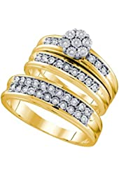 10K Yellow Gold Diamond Mens and Ladies Couple His & Hers Trio 3 Three Ring Bridal Matching Engagement Wedding Ring Band Set - Flower Shape Center Setting w/ Round Diamonds - (1/8 cttw) - Please use drop down menu to select your desired ring sizes
