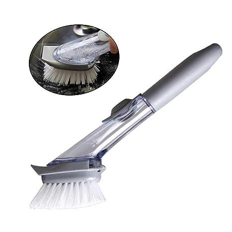 Womdee Cepillo de Lavado con Esponja para Mujer, dispensador de jabón, Cepillo de Fregadero