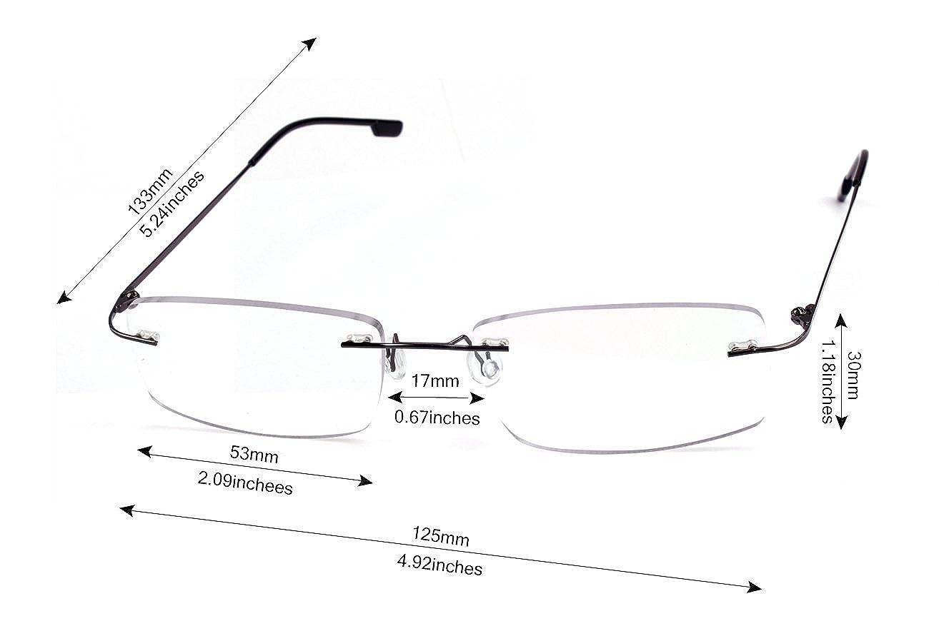 Agstum Titanium Alloy Flexible Rimless Hinged Frame Prescription Eyeglasses Rx
