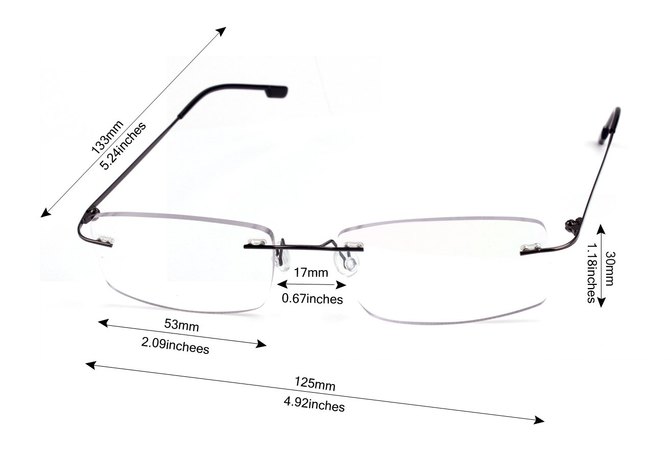 9820e5dcdcb Agstum Titanium Alloy Flexible Rimless Hinged Frame Prescription Eyeglasses  Rx