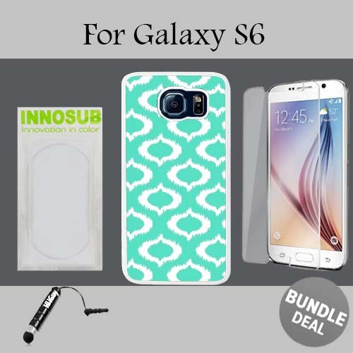 Ikat Mint Custom Galaxy S6 Cases-White-Plastic,Bundle 3in1 Comes with HD Tempered Glass/Universal Stylus Pen by innosub