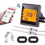 remote bbq thermometer iphone - Bluetooth Digital Meat Thermometer for Grilling, BBQ Cooking Kitchen Oven Thermometer 170ft Controlling by Phone (android/ios), Large LCD Display and An Alarm Reminder Function - Silver Gray