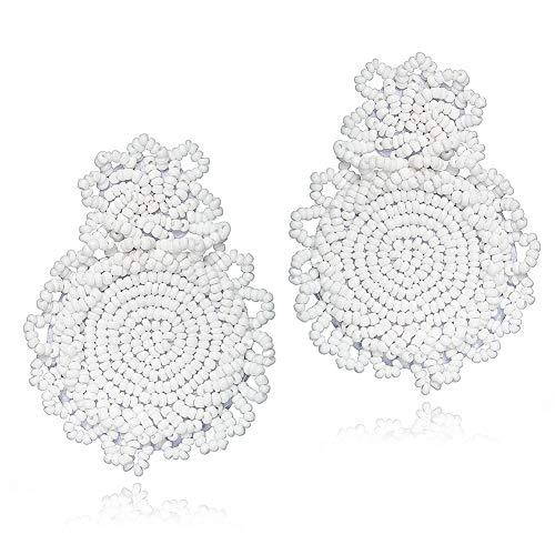 Statement Beaded Drop Earrings Fashion Bohemian Handmade Drop Dangle Earrings for Women Jewelry Gift (Beaded Jewelry Fashion Handmade)