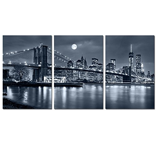 Live Art Decor   3 Panels Brooklyn Bridge Canvas Wall Art Moon Night New York City Scene Picture Print On Canvas Framed Gallery Wrapped Modern Home And Office Decoration  48 W X 24 H Overall