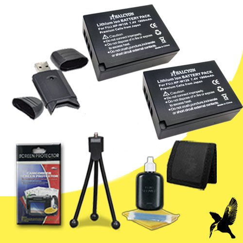 Two Halcyon 1800 mAH Lithium Ion Replacement Battery and Charger Kit for Fujifilm FinePix HS50EXR Digital Camera and Fujifilm NP-W126