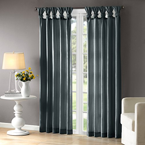 Teal Curtains For Living room, Transitional Fabric Curtains For Bedroom, Emilia Solid Window Curtains, 50X84, 1-Panel Pack - Printed Tab Top Curtains