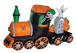 7 Foot Long Halloween Inflatable Skeleton on Train 2013...
