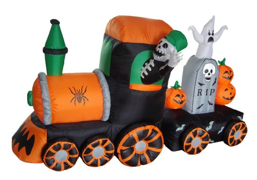 7 Foot Long Halloween Inflatable Skeleton on Train 2013 Yard Decoration (Cute Halloween Yard Decoration Ideas)