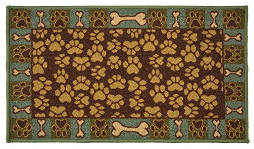 Pet Paw and Bone Design Brown Teal Blue Printed Slip Resistant Rubber Back Latex Rug (Brown Teal, 3