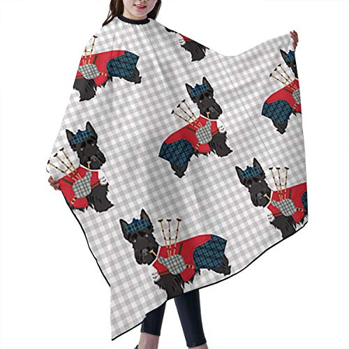 PNNUO Salon Cape Barber Haircut Apron Scottie Dogs and Bagpipes with Snap Closure Waterproof Professional Hairdressing Cover for Hair Cutting Cut