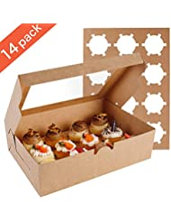 Farielyn-X 14 Packs Cupcake Boxes, Food Grade Kraft Bakery Boxes with Inserts and Display Windows Fits 12 Cupcakes or Muffins
