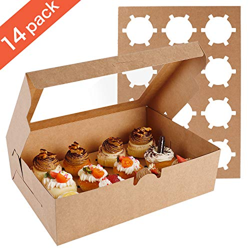 Mini Cupcake Box (Farielyn-X 14 Packs Cupcake Boxes, Food Grade Kraft Bakery Boxes with Inserts and Display Windows Fits 12 Cupcakes or)