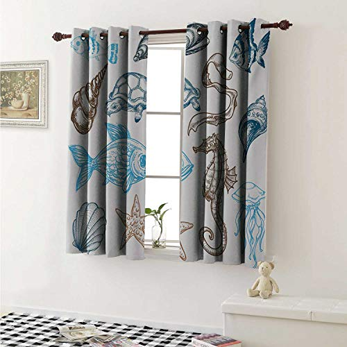 shenglv Doodle Room Darkening Wide Curtains Underwater Marine Life Aquatic Fish Shell Jellyfish Oyster Squid Seahorse Motif Window Curtain Drape W108 x L72 Inch Dark Blue Cocoa