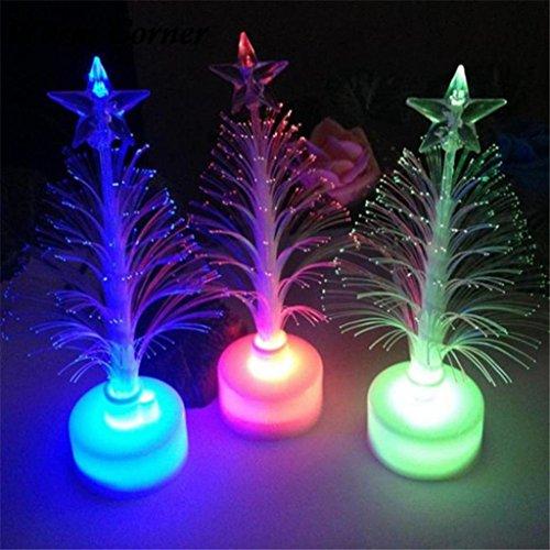 Lámpara LED multicolor cambiante con forma de árbol de Navidad, funciona con pilas, fibra óptica, con base para casa,...