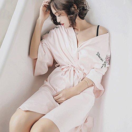 da Estate Donna Abbigliamento GAOLILI Wear Light notte Nero 32cm Pigiama dimensioni Fiore Peonia 148cm pink Cinture Primavera Accappatoi 104cm Colore Ricamo Sexy Home q0FXwwz