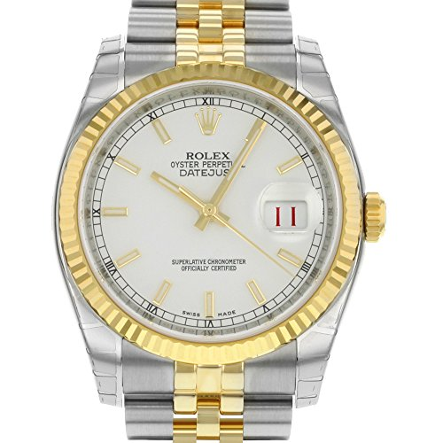Rolex Datejust White Index Dial Jubilee Bracelet Fluted Bezel Two-tone Mens Watch 116233WSJ