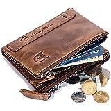 SHAKARAKA Men's Wallet RFID Blocking Minimalist Vintage Cowhide Leather Wallet with Double Zipper Pocket for Men