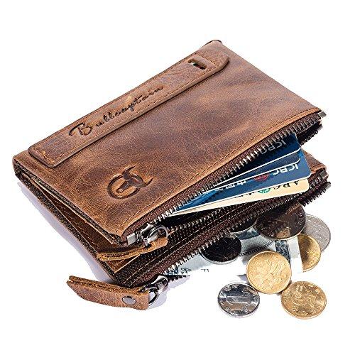 SHAKARAKA Mens Wallet RFID Blocking Minimalist Vintage Cowhide Leather Wallet with Double Zipper Pocket for Men