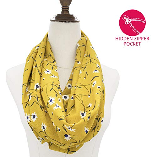 Scarf With Hidden Pocket Ladies Travel Scarf Lightweight Wrap Infinity Scarves Striped With Zipper Pocket