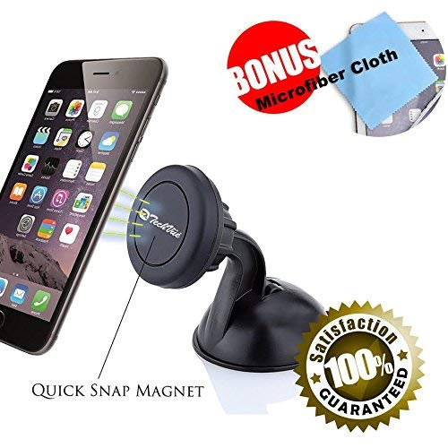 Magnetic Phone Mount Cell Phone Holder Dashboard Mount + Plates Super Strong Suction Cup for All Smartphones iPhones Samsung Galaxy, HTC etc iPhone X, 8, 7, 6, 6S, Galaxy S8 S7 S7 Edge