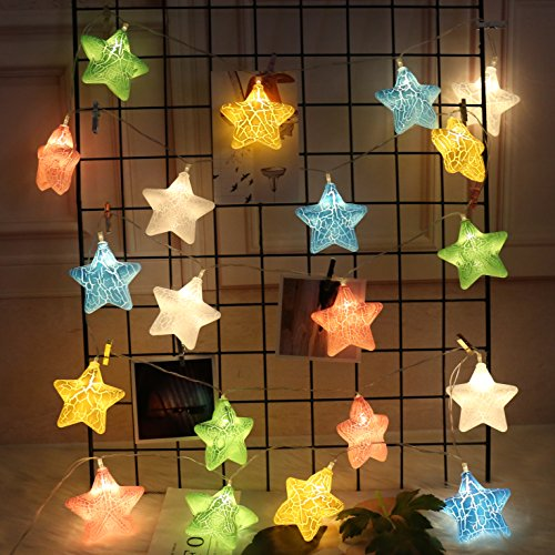 SkyeyArc 20Ft 40 LED Battery Operated Fairy Lights for Kids Room Decor, Colorful Star String Lights for Girls Room Decorations, Starry Lights for Bed Canopy, Kids Playhouse Accessories