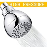 Shower Head High Pressure, Full-Chrome Finish Fixed Showerhead, Wall Mounted Filtered with Removable Water Restrictor, High Flow Boosting Resist for Low Water Pressure