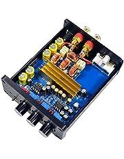 Prettyia 2 Channel Stereo Audio Class D Amplifier Mini HiFi for Home Speaker System, 200W, Black