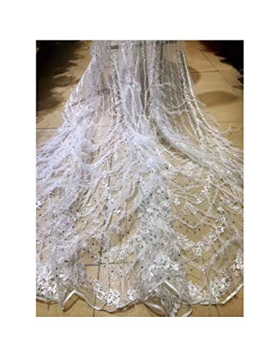 Wedding Party White Clothing Fabric Rhinestone Feather Embroidered French mesh 42417 African lace Nigeria lace,Color 4