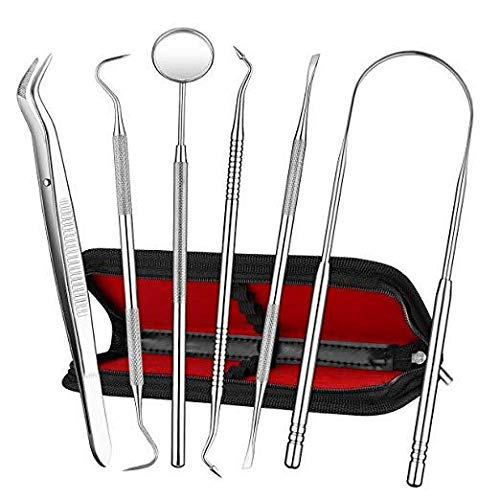 Dental Tools, ElleSye 6 PACK Dental Pick, Stainless Steel Dental Kit Set,  Tongue Cleaner Mouth Mirror for Personal Oral Care & Pet Use