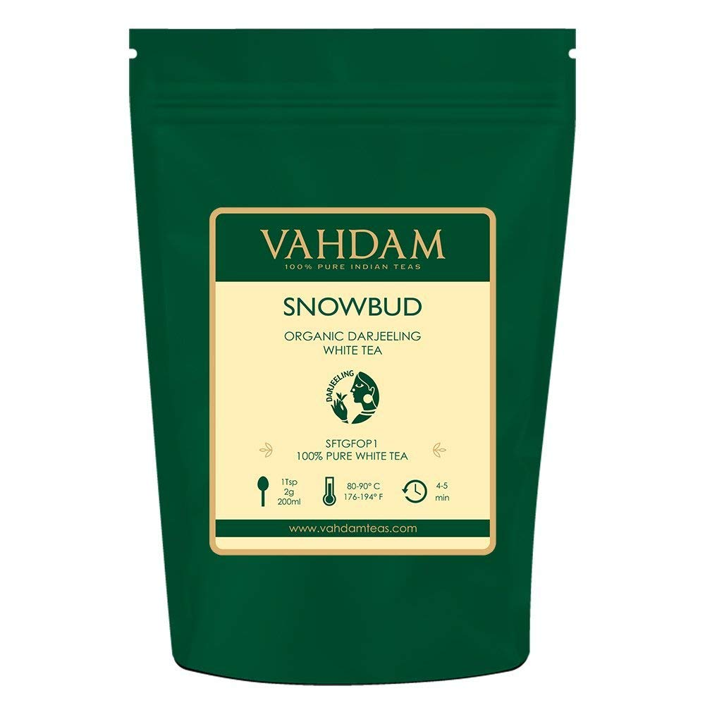 VAHDAM, Snowbud White Tea Leaves from Darjeeling (25 Cups), White Tea Loose Leaf Sourced Direct from High Elevation Estates in the Himalayas, 1.76oz by VAHDAM