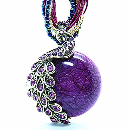 Hydne Restoring Ancient Ways Bohemia Peacock Cat-Eys Stone Women Nacklace(Purple-Peacock) - 18k White Gold Bow