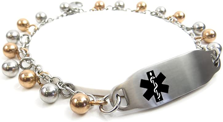 Pre-Engraved /& Customized Latex Allergy Alert Bracelet White Black//White Millefiori Glass Pattern My Identity Doctor