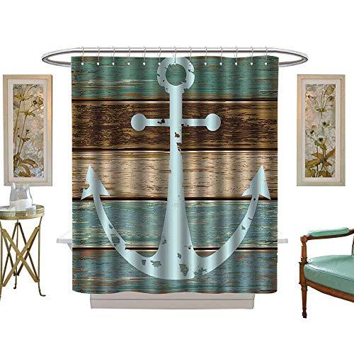 luvoluxhome Shower Curtains Sets Bathroom Nautical Anchor Rustic Wooden Planks Marine MaritimeSea Ocean Coastal Antiqued Aged Digital W72 x L96 Fabric Bathroom Decor Set with Hooks ()