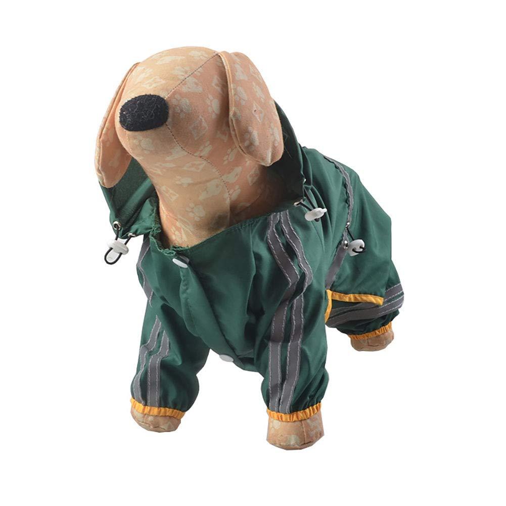 Verde//L 1PC Trifycore Pet Dog Cat Impermeabile del Cane Giacca Impermeabile Cappuccio Cappotto di Pioggia di Sicurezza Abbigliamento Riflettente Notte Tuta per i Piccoli Cani di Media Taglia