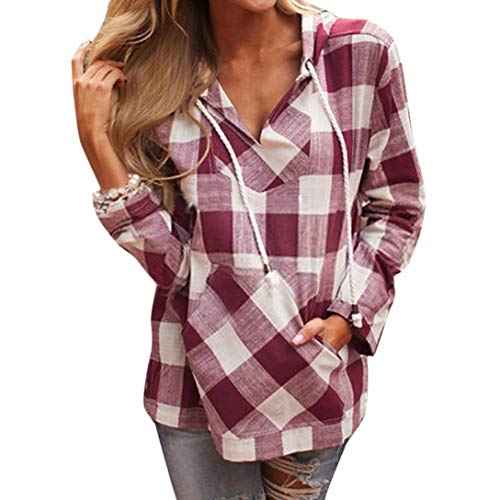 ❤️Fashion Womens Pullover T-Shirt, NEARTIME Sexy V-Neck Plaid Blouse Long Sleeve Hoodie Pocket Loose Tops (Best Texts To Send A Girl)