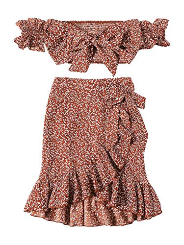 MAKEMECHIC Women's Two Piece Floral Knot Shirred Bardot Top and Ruffle Wrap Skirt Set Rust XS