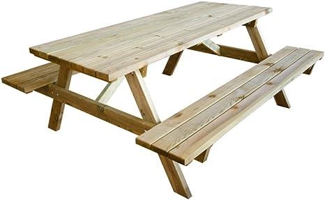 Verdelook Pic Nic Tavolo Con Panche In Legno Impregnato 180x120x70 Cm Amazon It Giardino E Giardinaggio