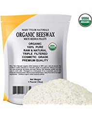 Certified Organic White Beeswax Pellets 1lb by Mary Tylor Naturals, Premium Quality, Cosmetic Grade, Triple Filtered Bees Wax Pastilles Great for DIY Lip Balm Recipes Body Creams Lotions Deodorants