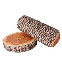 Yosoo Creative 3D Novelty Ginkgo Tree Wood Cushion + Stump Log Throw Pillow for Home Office Car Soft Decor Washable