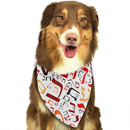 OURFASHION Creative Hebrew Alphabet Bandana Triangle Bibs Scarfs Accessories for Pet Cats and Puppies -
