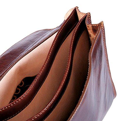MICHELANGELO handgefertigt italien - Ordner, 3 Fächer, aus echtem Leder 41x17 H31 cm (BRAUN) Dunkelbraun