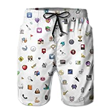 Emoji Wallpaper Board Short Quick Dry Shorts With Pockets For Unisex White
