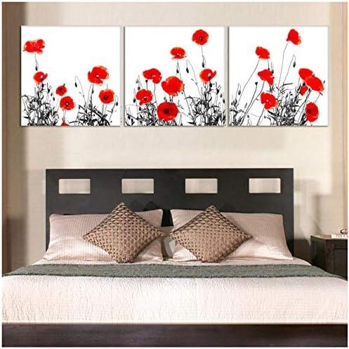 3パネル現代プリント美しい赤い花絵画キャンバスアート家の装飾抽象壁写真絵画用リビングルーム-20x20x3Pcscmなしフレーム