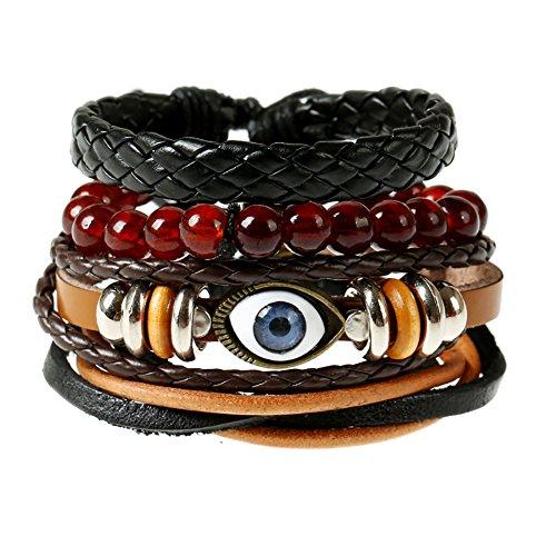 Soleebee Unisex Punk Retro PU Leather Hemp Cords Multi-Stands Wristband with Beads Pure Handmade Bracelets Set of 4 (Style 17)