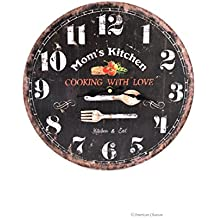"""American Chateau 13"""" Large Wood Vintage-Style Mom's Kitchen Black Wall Clock"""